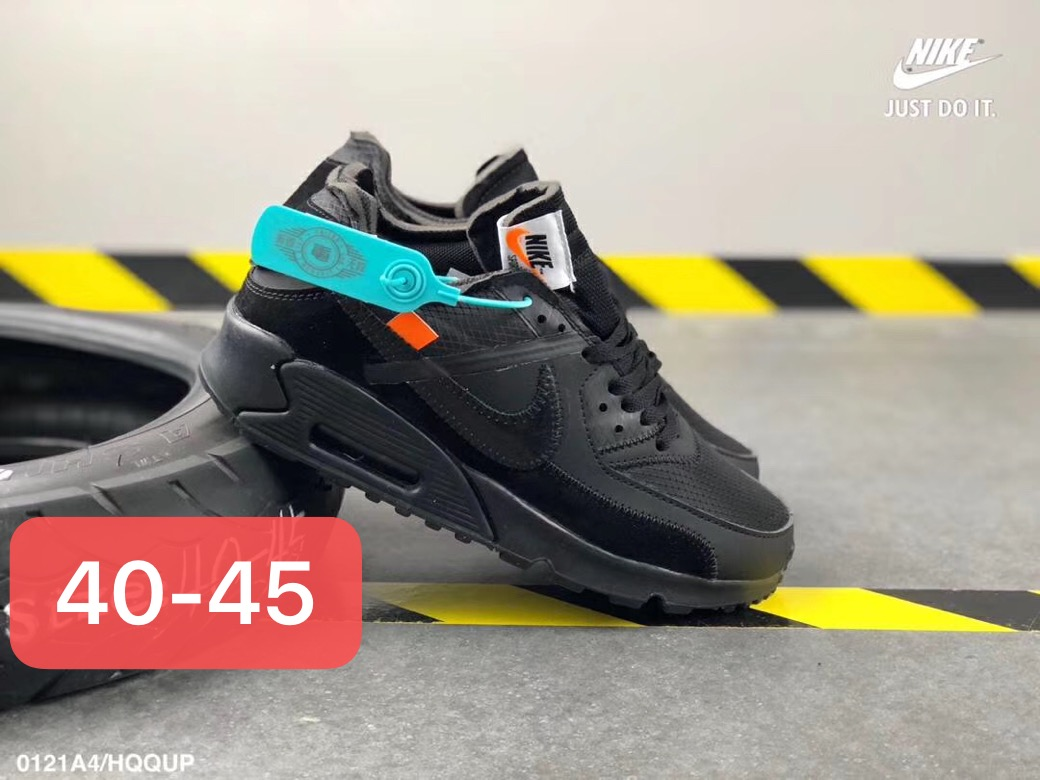 timeless design 46a80 f75fb Off White X Nike Air Max 90 Unisex Running Shoes Black All