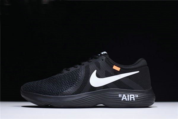 new arrival 6893e aba89 Cheap Off-White x Nike Revolution 4 Black Mens and WMNS Size Running Shoes  908988