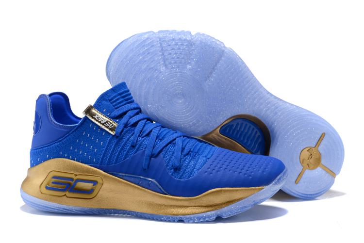Under Armour Curry 4 Low Royal Blue Gold For Sale
