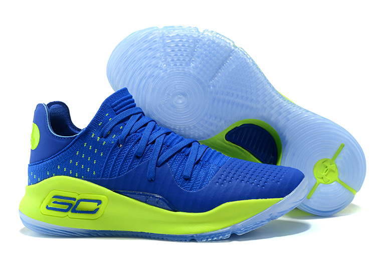 Under Armour Curry 4 Low Royal Blue Green For Sale