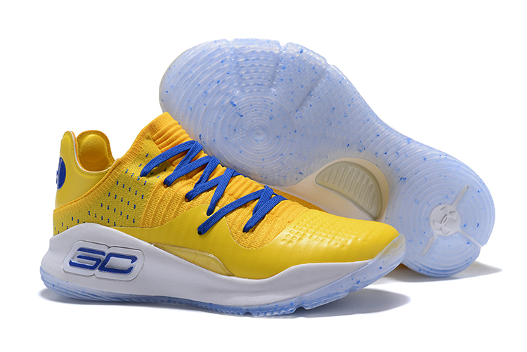 Under Armour Curry 4 Low Warriors Yellow Royal Blue For Sale