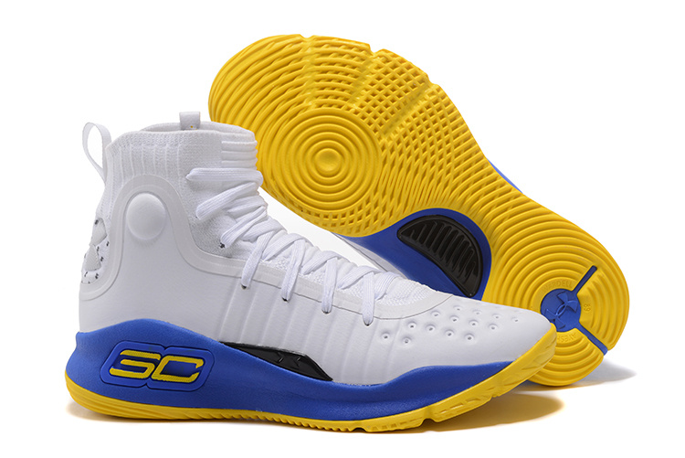 Under Armour Curry 4 White Blue Yellow 2017 For Sale