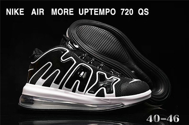 Where To Buy Cheap Nike Air More Uptempo 720 QS Cushioning Basketball Shoes Black White
