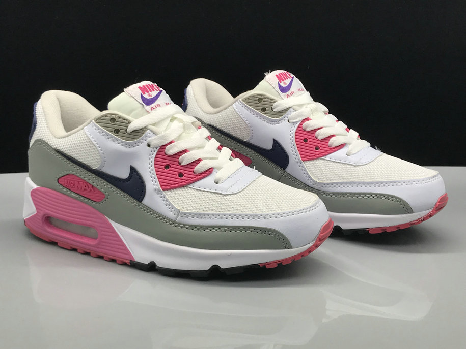 buy online c650d 779a7 Womens Nike Air Max 90s Classic White Grey Black Pink