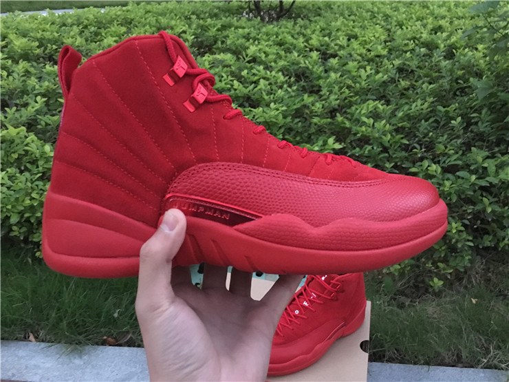 newest 2fa7b 2612a 2017 Cheap Air Jordan 12 Premium Red Suede Christmas Red For ...