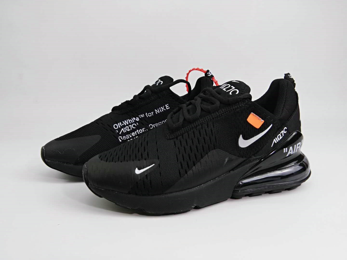 b366b33c8a7a48 ... 2018 Womens 2018 Nike Air Max 270 Triple Black OFF-WHITE Cheap Sale ...