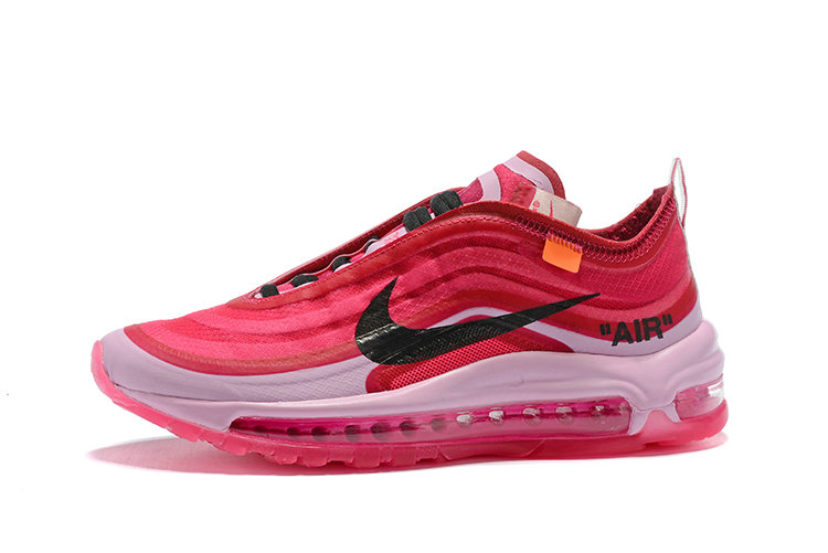 f33a6e71c75b25 ... 2018 Womens Nike Air Max 97 SneakerBoots OFF-WHITE Pink Red White Black  Cheap Sale ...