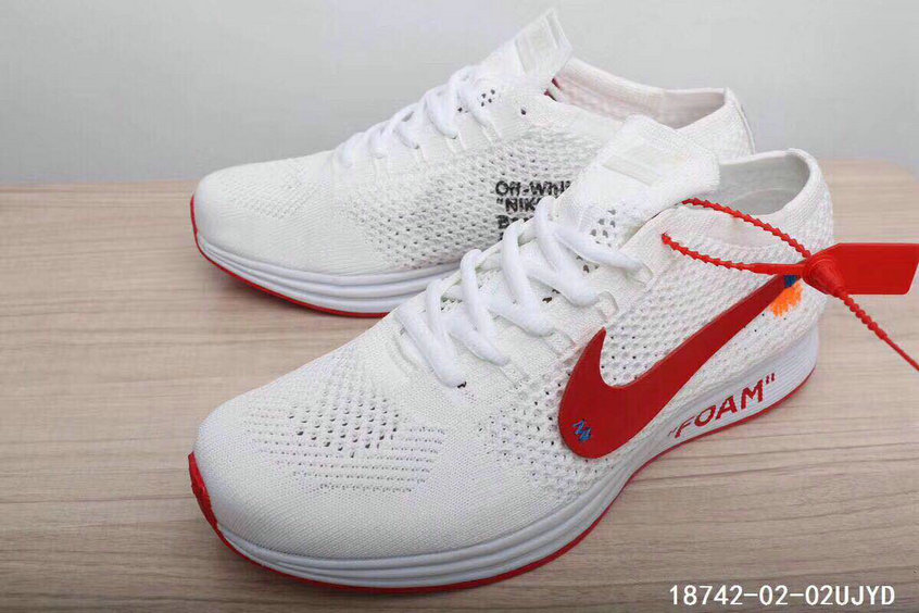 online retailer e3938 d03ee ... 2018 Womens Nike The 10 OFF-WHITE Nike Flyknit Racer White University  Red Cheap Sale ...