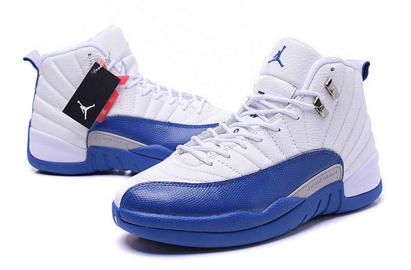 low priced f4ebb 9a19b ... Air Jordans 12 Retro French Blue White French Blue-Metallic Silver-Varsity  Red ...