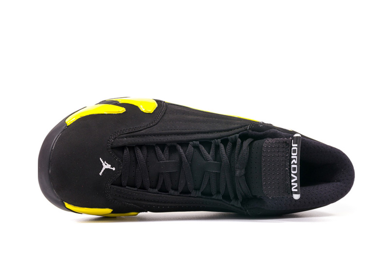 7907f75050f ... Air Jordans 14 Retro Thunder Black Vibrant Yellow-White For Sale ...