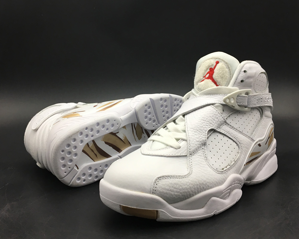 new product 12de3 b15eb ... Cheap Air Jordan 8 OVO White Metallic Gold-Varsity Red-Blur For Sale ...