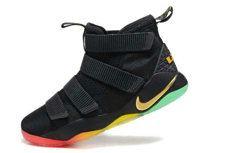 838f19c9af9 ... Cheap Nike LeBron Soldier 11 Black Gold Rainbow Basketball Shoes For  Sale ...