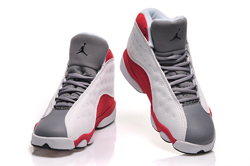 new product e2862 3286d ... Girls Air Jordan 13 Retro Cement Grey White Black-True Red-Cement Grey  For ...
