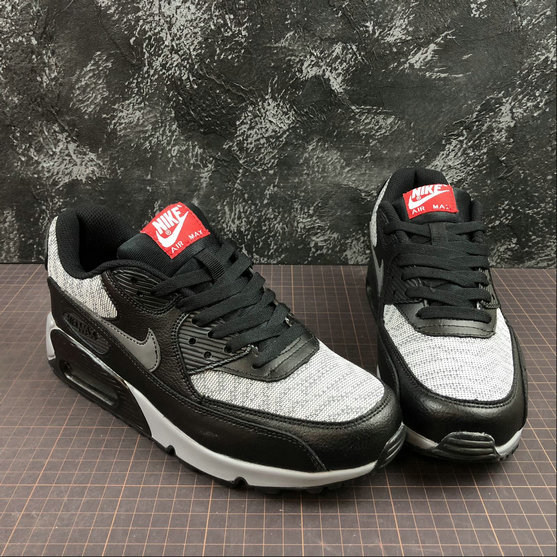 plutôt sympa af12e b981f Nike Air Max 90 Essential 537384-065 Black Grey Red Noir ...