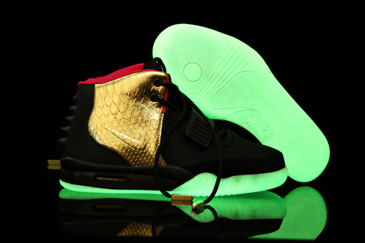 05f42d3e446442 ... Nike Air Yeezy 2 Imperial Black Gold Glow in the Dark For Sale ...
